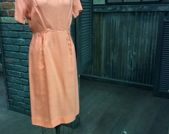 Summer at the Office: 1960's Melon Vintage Linen Day Dress