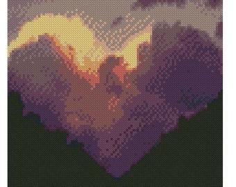 Love Cloud cross stitch/ needlepoint/beadweaving charted pattern