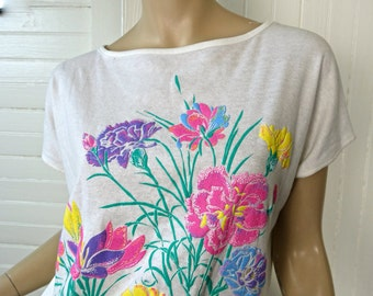 80s Neon Flowers Top- 1980s New Wave- 80s- Small- Pastel
