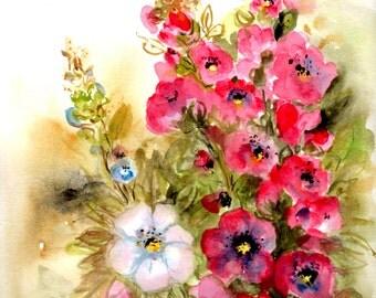 Flowers painting, garden,original watercolor painting, hollyhocks,