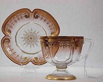 Antique Moser Art Glass Shaded Enamel Quatrefoil Cup Saucer Set