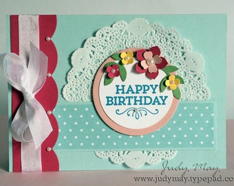 Handmade Feminine Birthday Card