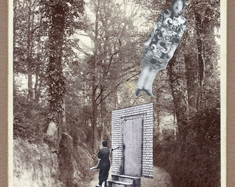 """Surreal Art, Surreal artwork, paper collage, Cabinet photo, Art,surreal collage """"Yipeah! Yeah!"""""""