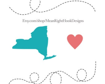 New York SVG state silhouette, heart svg, and dotted lines INSTANT DOWNLOAD vector files for cutting machines - svg, png, dxf, eps
