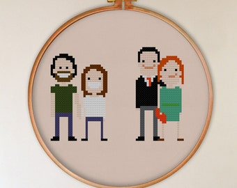 Cute characters 2 couples cross stitch pattern design,  counted cross stitch pattern, home decor, people cross stitch pattern, wall decor