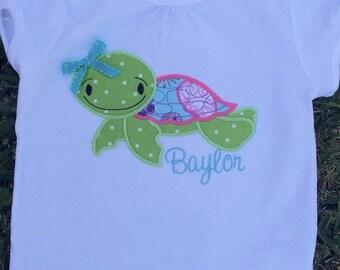 Sea Turtle Shirt, girls beach shirt, girls summer shirt, girls birthday shirt, boys beach shirt, boys summer shirt, applique shirt