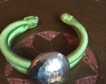 Moroccan acid green cuff Sabra bracelet