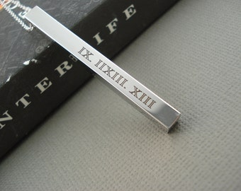 Personalized Vertical Silver bar necklace...Engraved 3D Bar, sorority, best friend gift, wedding, bridesmaid gift