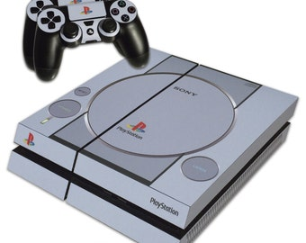 PS4 Skin EXCLUSIVE Grey Retro Playstation One PS1 Skin with 2 Controller Skins Playstation 4