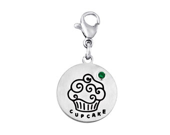 Cupcake Disc Charm With Personalized Birthstone