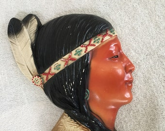 Native Beauty Chalkware Wall Plaque