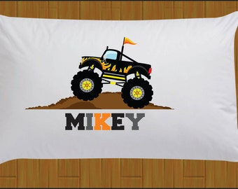 Boys Personalized Black Monster Truck Pillow Case