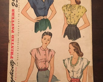 Vintage Simplicity 1554 sewing pattern - 1945 - Size 14