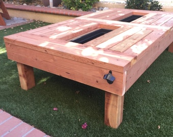 Items similar to outdoor patio cooler on etsy for Outdoor coffee table with cooler