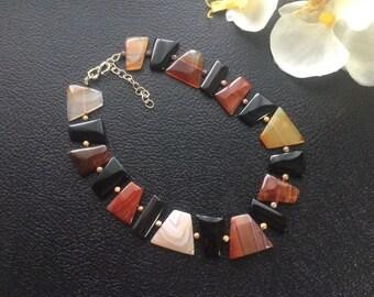 """Black & Red Banded Agate Flat Slab Necklace 17"""" – 19-1/2"""""""