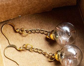 Dandelion Seed Real flower wish good luck earrings