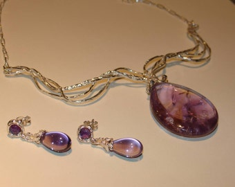 Amethyst jewerly set necklace earrings