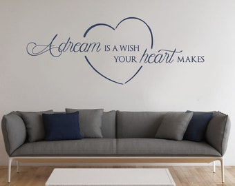 A Dream is a Wish Your Heart Makes Wall Sticker, Home Vinyl Wall Decal, Love Heart Wall Sticker, Motivational, Bedroom Wall Art