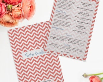 Chevron Wedding Further Details Card