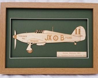 Aeroplane Hawker Hurricane WW2 RAF Battle of Britain Laser engraved-cut original 2D-3D picture