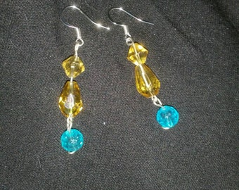 Blue / Amber drop earrings