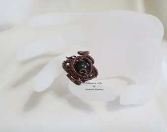 Copper ring with Chinese jade