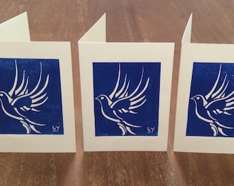The Dove - Original Design Lino Print Cards by Laura Young - Set of 3