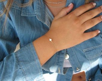 Opal bracelet, opal ball bracelet, opal gold bracelet, opal jewelry, tiny bracelet, opal bead bracelet, white opal bracelet, dot bracelet