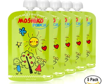 Reusable Baby Toodler or Adult Food Pouch by Moshiko Pouch (5 pack)