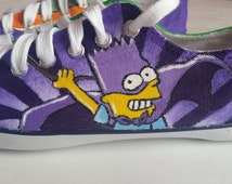 The Simpsons themed hand painted plimsolls size 4 UK