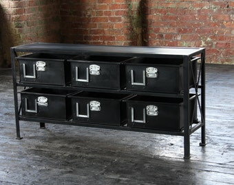 Industrial Vintage Console Table Double sided
