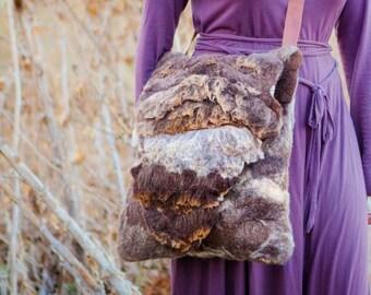 Felt bag,brown crossbody bag,eco bag,wild bag, shoulder felt bag,burningman bag , natural bag, unique texture.bohemian  bag, FREE SHIPPING!