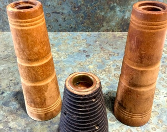 3 Vintage Antique Textile Mill Wood Spools Bobbins 1930's