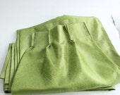 "62"" long vintage 1970s curtains . green drapes set of 2 panels . semi sheer green 70s curtains . pinch pleat drapes"