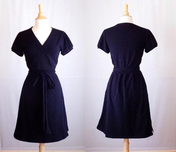 Womens black Wrap Dress Short sleeve stretch cotton jersey knee length dress vneck wrap dress little black dress LBD - Made to Order