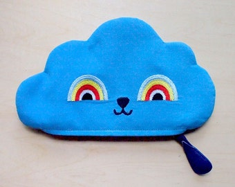 BLUE Cloud Pouch, Cloud Zip Pouch, Cloud Purse, Cloud zip purse, cloud wallet, rainbow pouch, rainbow purse - Rainbow Powers Cloud III