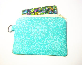 Handmade cotton fabric zip not padded  coin purse, teal, woman wallet, makeup pouch, id1340776, cardholder,bag organizer