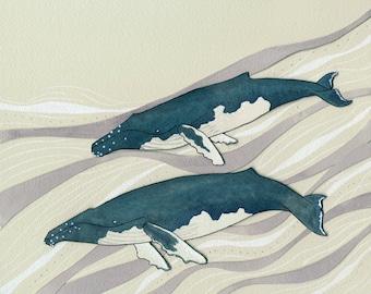 Promenade- humpback whale print