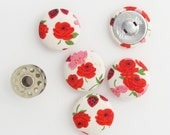 Vintage Floral Fabric Buttons 1 Inch | 5 Fabric Covered Shank Buttons | 25mm Red Rose Fabric Print Buttons