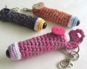 Monster Eyeball Chapstick Holder Cozy Keychain - Pink