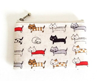 mini zipper pouch  - cats