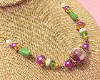 Purple Flower Necklace, Assemblage Necklace, Eclectic Beaded Necklace, Quirky Green Necklace, Handmade By KreatedByKelly
