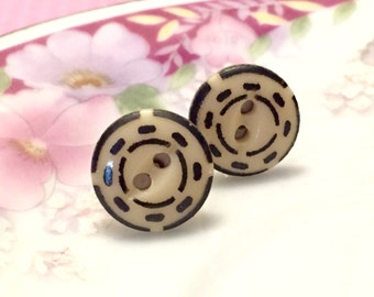 Antique Button Earrings, China Button Earrings, Beige with Black Dashes, Affordable Jewelry Gift for Crafty Friend (LB1)