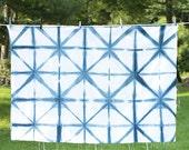 Shibori Fabric Diamond - lightweight LINEN / COTTON blend: hand dyed natural indigo-Large Cloth