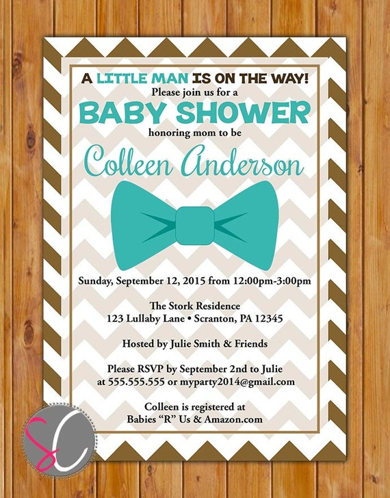 little man bow tie baby shower chocolate brown chevron invitation teal
