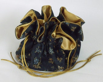 Jewelry Drawstring Bag, Travel Tote Gold Daisy on Navy Blue  Large