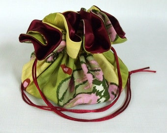 Jewelry Drawstring Bag Amy Butler Lotus Water Lily in Green Large