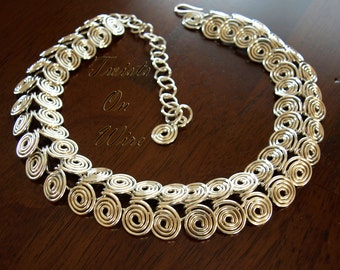Sterling Silver Swirl Snake Necklace Handcrafted