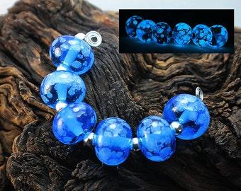 Aqua Glow - Handmade Lampwork Glass Beads - SRA Elasia