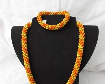 TAHITIAN SUNRISE- Yellow and Orange Crochet Elegant Rope Necklace and Bracelet, American made